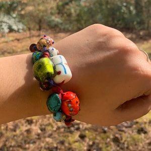 Boho lamp work art glass irregular beaded bracelet
